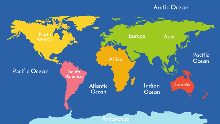 earth continents and oceans