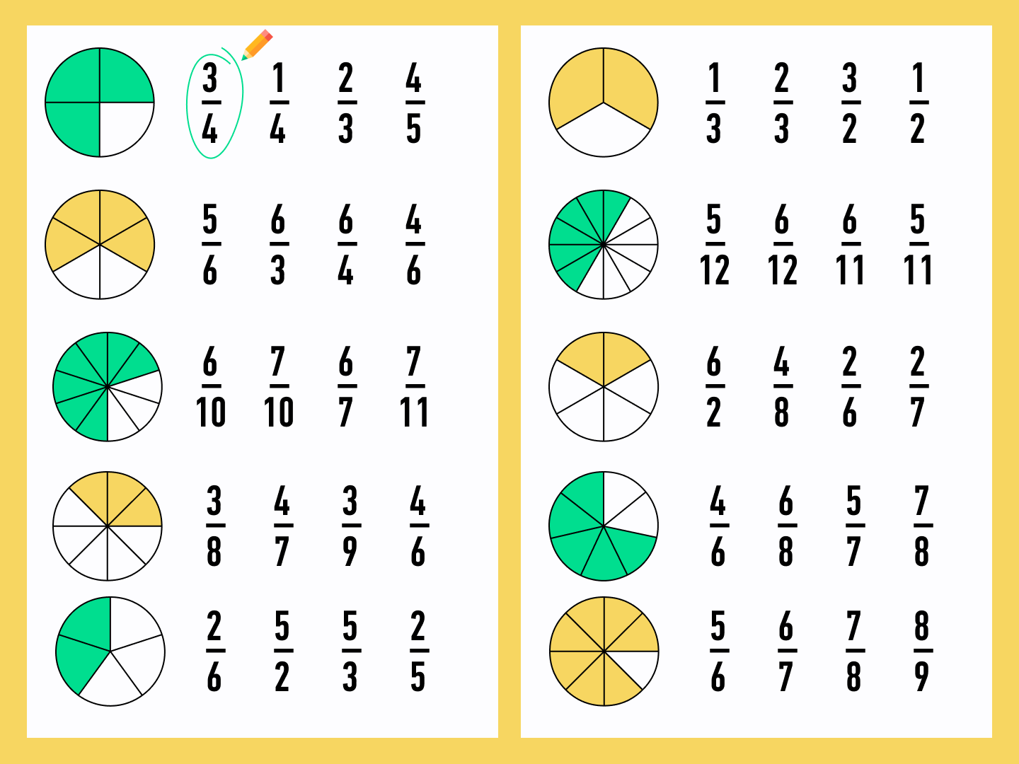 number puzzle with fractions